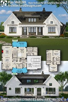 Modern Farmhouse House Plan 14682RK gives you 2400+ square feet of living space with 3 bedrooms and 2.5 baths. AD House Plan #14682RK #adhouseplans #farmhouse #modernfarmhouse #architecturaldesigns #houseplans #homeplans #floorplans #homeplan #floorplan #houseplan Modern Rustic Homes, Modern Farmhouse Plans, New House Plans, Modern House Plans, Built In Buffet, Shed Dormer, Building Section, Roof Plan, Great Rooms