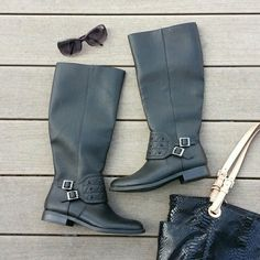 Black boots with buckles These boots have a pebbled look to them. There are two buckles and three rows of black stones at the ankle. Full length zipper for on/off.   No trades.  Save even more with a bundle discount! Shoes
