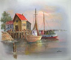 Paintings of Boats in Harbor   Yessy > A ART > ORIGINAL OIL PAINTINGS > HARBOUR WITH BOATS
