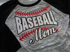Baseball Mom Glitter  3/4 Length Burnout by GraphicsUnlimitedLLC, $32.00
