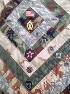Military Career quilt. Cut up an old uniform and saved patches and ... : military quilts - Adamdwight.com