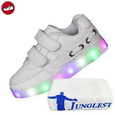(Present:kleines Handtuch)Weiß EU 28, LED Farbwechsel Schuhe JUNGLEST® Sportsschuhe USB-Lade Jungen Leuchtend Schuhe Kinder Fluorescence Blinken