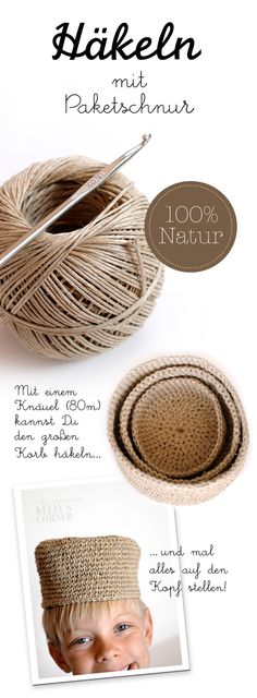Crochet baskets using twine