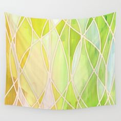 Lemon+&+Lime+Love+-+abstract+painting+in+yellow+&+green+Wall+Tapestry+by+Micklyn+-+$39.00