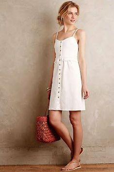 Simple white button up sundress. Classic fashion. Stitch Fix 2016