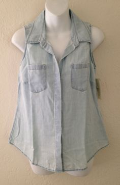 NWT SONOMA LIFE + STYLE Womens Denim Jeans Blouse Sleeveless Top Size S