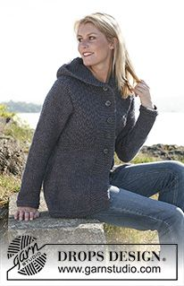 Hooded jacket pattern by DROPS design - Poncho stricken Sweater Knitting Patterns, Cardigan Pattern, Coat Patterns, Jacket Pattern, Free Knitting, Crochet Patterns, Drops Patterns, Drops Design, Knit Jacket