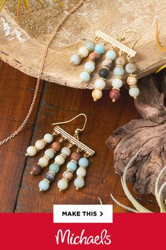 With five looped ends, these connectors enable you to showcase beautiful semi-precious beads. Check out the instructions and see how you can make these trendy earrings in under 30 minutes! Wire Jewelry, Jewelry Crafts, Beaded Jewelry, Jewellery Diy, Jewelry Storage, Diy Jewelry Making, Jewelry Ideas, Diamond Initial Necklace, Do It Yourself Jewelry