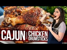 5 minutes of prep time is all that's needed to make these crispy-skinned Cajun Chicken Drumsticks. This recipe is always popular! Chicken Leg Recipes, Bbq Chicken, Baked Chicken, Chicken Meals, Cooking For Two, Fun Cooking, Stay At Home Chef, Curry Recipes, Cajun Recipes