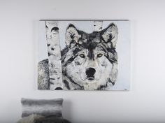 """The Gray Wolf, Acrylics on Plaster x 48 """" Gallery Canvas Gray Wolf, Wildlife Paintings, Plaster, Acrylics, Moose Art, Canvas, Gallery, Artist, Animals"""