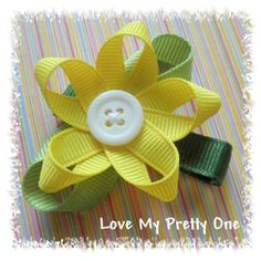 PRETTY FLOWER ribbon hair bow YELLOW baby clip by lovemyprettyone