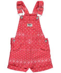 """OshKosh Baby Girls' """"Bandana Woven"""" Overall Shorts - CookiesKids.com"""