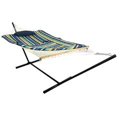 """Lake View Rope Hammock & Stand Combo from Serenity Health: This comfortable rope hammock comes with a quilted fabric pad featuring a blue, white, black and gold stripe pattern, a cozy pillow, and a durable, easy-to-assemble metal stand - ideal for porches, patios, """"She-Shed"""" setups, outdoor entertaining areas and backyard spaces."""