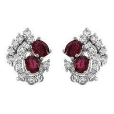 Ruby & Diamond Clip-On Gold Earrings