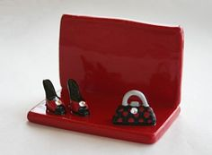 Clay Pottery - bussines card holders | Business Card Holder with stylish High Heels and Handbag adorn with ...: