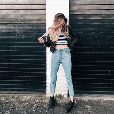 monki mom jeans stripe crop top leather jacket @thetallblondeb
