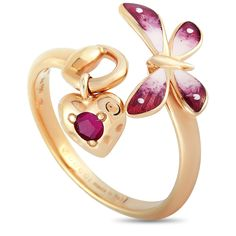 Gucci Rose Gold Ruby Enameled Butterfly Ring only: 780 USD Butterfly Ring, Butterfly Jewelry, Name Jewelry, Jewlery, Designer Jewelry, Jewelry Design, Rings Online, 18k Rose Gold, Fashion Illustrations