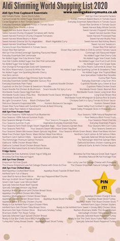 Aldi Slimming World Shopping List 2020 - Savings 4 Savvy Mums astuce recette minceur girl world world recipes world snacks Slimming Wirld, Aldi Slimming World Syns, Slimming World Healthy Extras, Slimming World Shopping List, Aldi Shopping List, Slimming World Recipes, Syn Free Yogurts, Aldi Syns, Healthy Freezer Meals