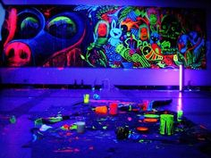 Fancy - Blacklight Reactive Paint.. using this idea and put in boys room :-)