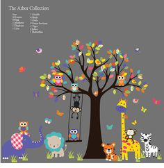 Kids Wall Decal 1 Giraffe -- 6 Birds -- 3 Owls --Swing 5 Grass Sections -- 1 Bear -- 3 Mushrooms -- 1 tiger -- 1 Zebra 2 Koalas -- 2 Monkeys -- 1 Elephant -- 1 Lion Tree 50 Leaves { Choose Color } * choose your colors from the color chart Please leave message with your color