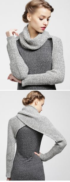 : Gilet/écharpe bien chaud au point mousse - The Best Geeks on 2020 Crochet Clothes, Diy Clothes, How To Wear Cardigan, Loom Knitting, Knitting Projects, Knitting Tutorials, Diy Fashion, Fashion 2014, Winter Fashion
