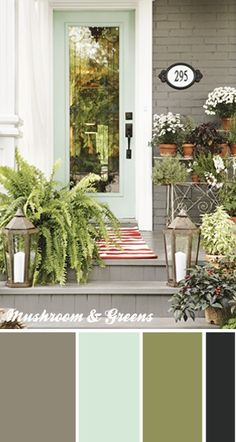 talk about curb appeal. love this gray painted brick and lanterns llonghauser talk about curb appeal. love this gray painted brick and lanterns talk about curb appeal. love this gray painted brick and lanterns Pintura Exterior, Outdoor Spaces, Outdoor Living, Outdoor Sheds, Outdoor Decor, Front Entrances, Porch Decorating, Decorating Ideas, Interior Decorating
