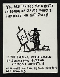Citation: Invitation to a party in honor of Claude Monet's birthday, 196-? . Paul Suttman papers, Archives of American Art, Smithsonian Institution.