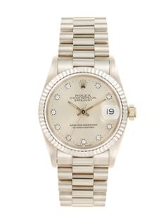 Rolex Oyster Perpetual Datejust President White Gold, Diamond, & Silver Dial Watch, 31mm from Graduation Gifts: One-of-a-Kind Watches on Gilt
