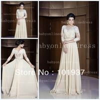 Free Shipping 2014 New Applique Lace Evening Gowns A Line Arabic Kaftan Dubai Evening Dresses With Long Sleeves BO2447