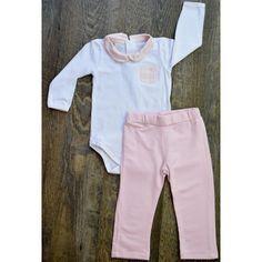 Conjunto body com gola e calça Viscomfort rosa Baby Classic