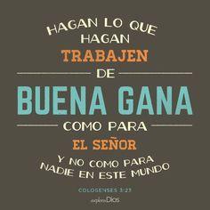 Hagan lo que hagan, trabajen de buena gana, como para el Señor y no como para nadie en este mundo. -Colosenses 3:23 #Biblia #alabanza