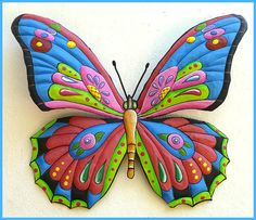 """Large Metal Art Butterfly 29"""" x 36"""", Butterfly Painted Metal Wall Hanging, Metal Art Design, Outdoorl Garden Wall Art, J-903-BL-36 by TropicAccents on Etsy"""