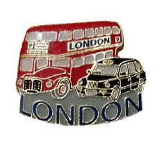 Charming British Double Decker Routemaster / Route Master Bus and Taxi Cab London, England UK Lapel Pin Souvenir