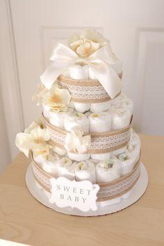 Shabby Chic Ivory Diaper Cake / Girls Baby Shower Centerpiece