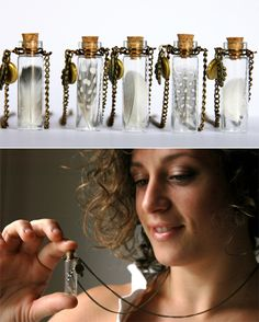 Feather in a jar necklace <3      Cute !