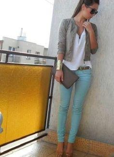 cropped jacket & light blue jeans