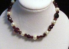 Garnet Pearl and Sterling Silver Stretch Bracelet Set by tzteja, $30.00