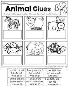 Read SIMPLE sentence clues, cut and paste to match the picture. Perfect for BEGINNING readers! Use for intervention English Activities, Reading Activities, Reading Centers, English Lessons, Learn English, Kids English, Kindergarten Literacy, Preschool, Teaching Kids