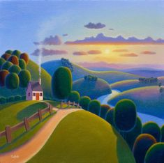 Sunshine Valley by Paul Corfield - Contemporary Paintings & fine art pictures available in our gallery - Free delivery on all orders over Landscape Art, Landscape Paintings, Illustrations, Illustration Art, Henri Rousseau, Naive Art, Art For Art Sake, Beautiful Artwork, Painting Inspiration