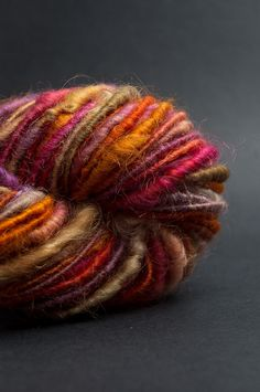 Rouge: handspun corespun yarn cotswold wool, bulky, 38 yards / hand painted hand dyed handpainted hand spun