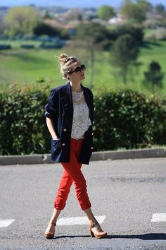 Red pants with lace (by Adenorah M) http://lookbook.nu/look/1780994-red-pants-with-lace
