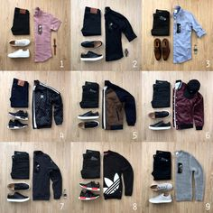You're going on a weekend getaway with your significant other. You need to pack outfits for dinner (top row), night out (middle row) and… Mens Casual Dress Outfits, Stylish Mens Outfits, Men Dress, Fashion Mode, Fashion Night, Fashion Outfits, Fashion Edgy, Fashion Stores, Male Fashion