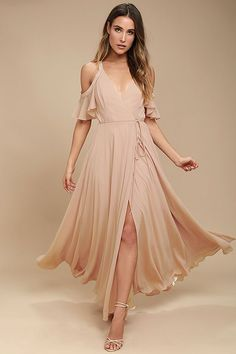 Lulus Exclusive! Glide across the dance floor in the Easy Listening Blush Off-the-Shoulder Wrap Maxi Dress! Lightweight Georgette starts this exquisite ensemble off with tank straps and ruffled off-the-shoulder sleeves atop a darted, surplice bodice. Tying waist accents the wrap skirt with a front slit and full maxi length.