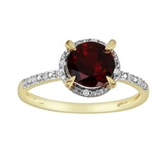 10k Gold Garnet and Diamond Accent Frame Ring, Women's, Size: 6, Red