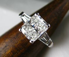 Radiant cut platinum diamond engagement ring by Spexton.com