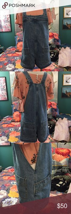 "ADORABLE Free People Denim Overall Shorts Four big pockets, baggy fit, adjustable straps (w/ buttons). From the WARDROBE CLOSET of Disney's ""Girl Meets World"" 👧🏽 🌍 in Downtown Los Angeles! Free People Jeans Overalls"