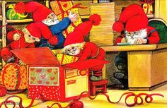 . Gnomes, Elves, Illustrators, Scandinavian, Christmas Cards, Santa, Painting, Ideas, Xmas Cards