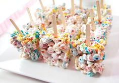 Perfect snacks for a Preppy Pancakes  Pajamas Party: fruitloop cereal treats
