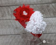 Valentines Day Headband  Red and White Heart by ElegantMeBoutique