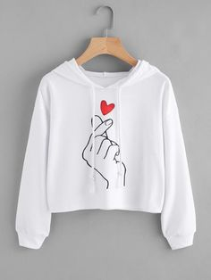 Material: Polyester Color: White Pattern Type: Graphic, Print Neckline: Hoodie Style: Casual, Sports Type: Pullovers Sleeve Length: Long Sleeve Fabric: Fabric has some stretch Season: Spring, Fall Shoulder(Cm): Bust(Cm): Sleeve Length(Cm): 4 Girls Fashion Clothes, Teen Fashion Outfits, Clothes Women, Crop Top Outfits, Cute Casual Outfits, Moda Ulzzang, Jugend Mode Outfits, Bts Clothing, Girl Clothing